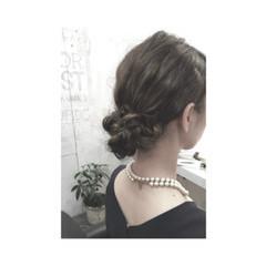大人かわいい セミロング シニヨン 簡単ヘアアレンジ ヘアスタイルや髪型の写真・画像