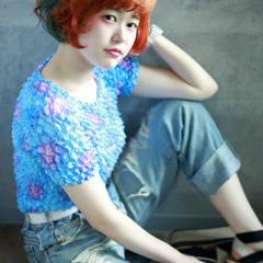 ダブルカラー 夏 ボブ オレンジ ヘアスタイルや髪型の写真・画像