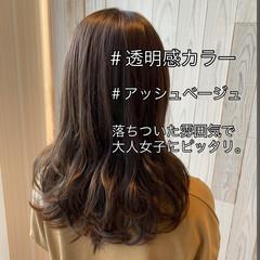 アッシュベージュ ナチュラル ロング 透明感 ヘアスタイルや髪型の写真・画像