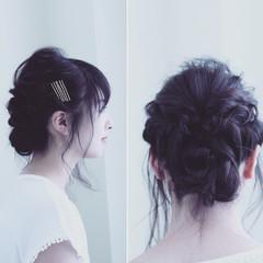 ねじり ヘアアクセ ルーズ ヘアピン ヘアスタイルや髪型の写真・画像