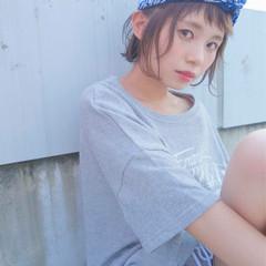 透明感 バンダナ ヘアアレンジ ダブルカラー ヘアスタイルや髪型の写真・画像