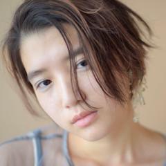 かき上げ前髪 ウェットヘア ショート 大人かわいい ヘアスタイルや髪型の写真・画像