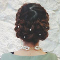 ガーリー 結婚式 ヘアアレンジ 編み込み ヘアスタイルや髪型の写真・画像