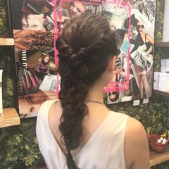 編み込み フェミニン デート ゆるふわ ヘアスタイルや髪型の写真・画像