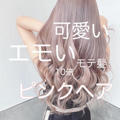ピンク ピンクベージュ 透明感カラー ピンクラベンダー ヘアスタイルや髪型の写真・画像