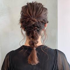 結婚式 簡単ヘアアレンジ セミロング 編み込み ヘアスタイルや髪型の写真・画像