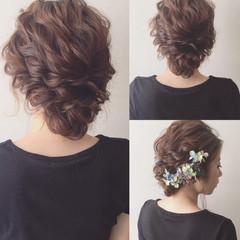 大人かわいい 夏 ミディアム 簡単ヘアアレンジ ヘアスタイルや髪型の写真・画像
