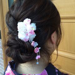 シニヨン ロング 和装 ゆるふわ ヘアスタイルや髪型の写真・画像