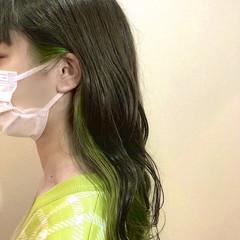 外国人風カラー ロング グリーン インナーカラー ヘアスタイルや髪型の写真・画像