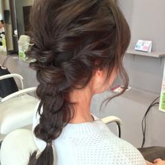 セミロング ショート 簡単ヘアアレンジ 三つ編み ヘアスタイルや髪型の写真・画像