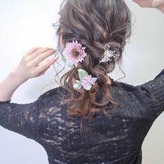 ロング ヘアアレンジ デート エレガント ヘアスタイルや髪型の写真・画像