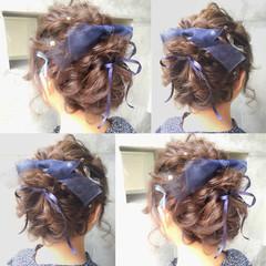 簡単ヘアアレンジ ハーフアップ 夏 フェミニン ヘアスタイルや髪型の写真・画像