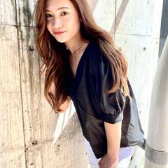 韓国ヘア ミルクティーベージュ ナチュラル ヨシンモリ ヘアスタイルや髪型の写真・画像