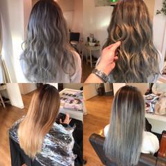 ホワイトグレージュ セミロング ホワイトアッシュ バレイヤージュ ヘアスタイルや髪型の写真・画像