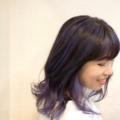 グラデーションカラー パープル ミディアム ユニコーンカラー ヘアスタイルや髪型の写真・画像