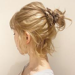 おだんご ショートボブ ヘアアレンジ ナチュラル ヘアスタイルや髪型の写真・画像