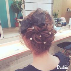 編み込み 大人かわいい ねじり ミディアム ヘアスタイルや髪型の写真・画像