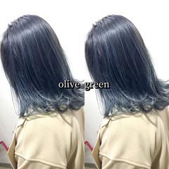 オリーブカラー グリーン ストリート オリーブ ヘアスタイルや髪型の写真・画像