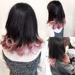 暗髪 ピュア グラデーションカラー ミディアム ヘアスタイルや髪型の写真・画像