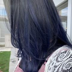 ネイビーカラー ミディアム ナチュラル ブリーチ必須 ヘアスタイルや髪型の写真・画像