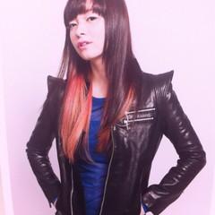 グラデーションカラー モード ロング ピンク ヘアスタイルや髪型の写真・画像