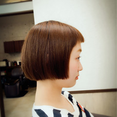 ピュア ボブ フェミニン 前髪あり ヘアスタイルや髪型の写真・画像