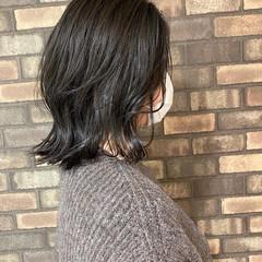 ナチュラル 韓国ヘア 外ハネ ミディアム ヘアスタイルや髪型の写真・画像