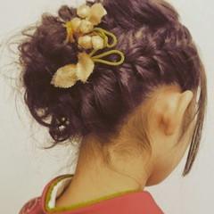 ヘアアレンジ 結婚式 セミロング 袴 ヘアスタイルや髪型の写真・画像