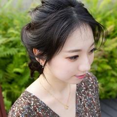 ヘアアレンジ 韓国ヘア 簡単ヘアアレンジ セミロング ヘアスタイルや髪型の写真・画像