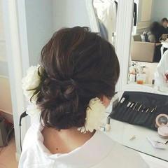 セミロング ヘアアレンジ 結婚式 花嫁 ヘアスタイルや髪型の写真・画像