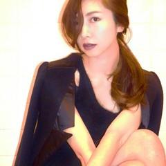 ポニーテール モード かっこいい セミロング ヘアスタイルや髪型の写真・画像