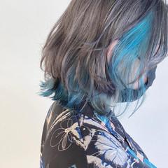 インナーブルー ボブ ナチュラル インナーカラー ヘアスタイルや髪型の写真・画像