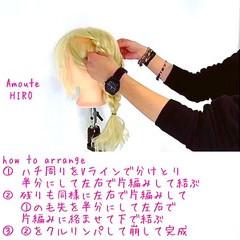上品 ショート 簡単ヘアアレンジ 編み込み ヘアスタイルや髪型の写真・画像