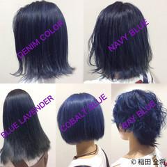 ブルー ネイビーカラー ブルーアッシュ ストリート ヘアスタイルや髪型の写真・画像