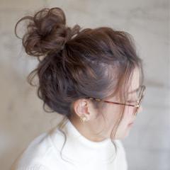 セミロング 簡単ヘアアレンジ 大人かわいい お団子 ヘアスタイルや髪型の写真・画像