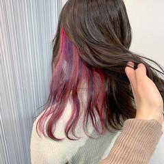 ハイトーン ハイライト インナーカラーパープル ダブルカラー ヘアスタイルや髪型の写真・画像