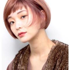 艶髪 ピンク 秋冬スタイル ボブ ヘアスタイルや髪型の写真・画像
