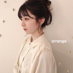 セミロング ナチュラル ヘアアレンジ お団子アレンジ ヘアスタイルや髪型の写真・画像