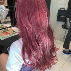 ガーリー ハイトーンカラー ブリーチオンカラー ラズベリーピンク ヘアスタイルや髪型の写真・画像