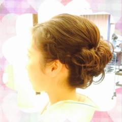 大人かわいい 着物 編み込み まとめ髪 ヘアスタイルや髪型の写真・画像