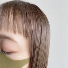 ブリーチなし ミルクティー ミニボブ フェミニン ヘアスタイルや髪型の写真・画像