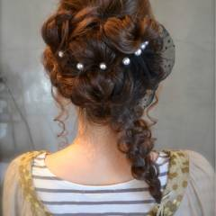 ヘアアレンジ 結婚式 三つ編み 大人かわいい ヘアスタイルや髪型の写真・画像
