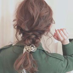 簡単ヘアアレンジ ヘアアレンジ 編みおろし ミディアム ヘアスタイルや髪型の写真・画像