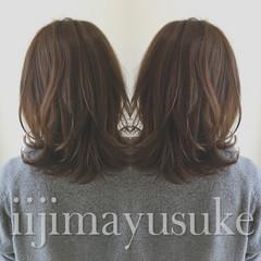 暗髪 アッシュ ミディアム ハイライト ヘアスタイルや髪型の写真・画像