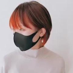 ナチュラル ショート インナーカラーオレンジ マッシュショート ヘアスタイルや髪型の写真・画像