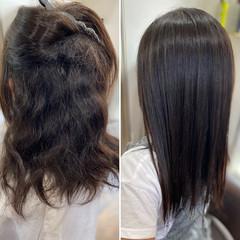 脱縮毛矯正 縮毛矯正 ロング エレガント ヘアスタイルや髪型の写真・画像