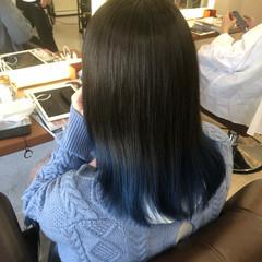 モード 裾カラー 最新トリートメント ネイビーブルー ヘアスタイルや髪型の写真・画像