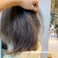 ミルクティーベージュ ストリート レイヤーカット ミディアム ヘアスタイルや髪型の写真・画像