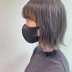 外ハネボブ ブリーチなし 透明感カラー ボブ ヘアスタイルや髪型の写真・画像
