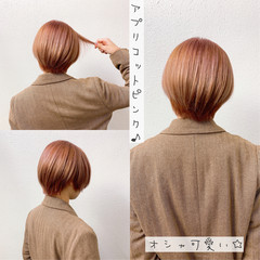 ショートボブ ガーリー ピンク ブリーチ ヘアスタイルや髪型の写真・画像